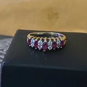 14k gold ruby and diamond ring, size 7